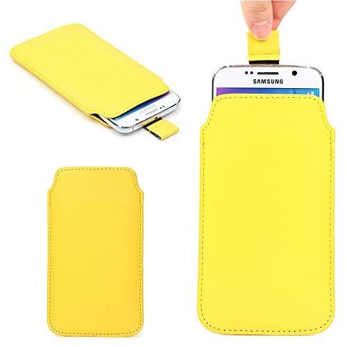 Urcover Universal Schutzhülle Hülle Schale Pull Tab Etui Cover case Kompatibel mit Samsung Galaxy S7 Edge, S6 Edge Plus, iPhone 6 / 6s Plus Gelb