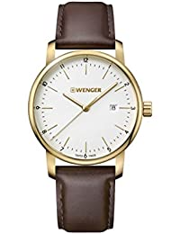 Wenger Men's 'Urban Classic' Quartz Stainless Steel and Leather Casual Watch, Color:Brown (Model: 01.1741.108)