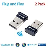 Cinolink [2-Pack] Bluetooth 4.0 USB Adapter for Windows / Linux / Mac - Plug and Play, Class 1, 50 Meter, APTX
