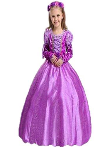 Ninimour Prinzessin Kleid Grimms Märchen Kostüm Cosplay Mädchen Halloween Kostüm Violett#1, Gr.150