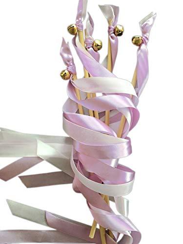 EinsSein 20x Wedding Wands Liebeszauber Flieder Spalier Hochzeit Glücksstäbe Stäbe Spitze rund Kirche runde Holzstäbe Glöckchen Konfetti Standesamt Holz