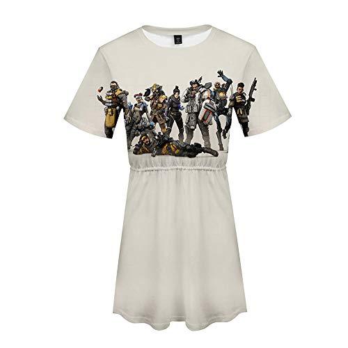 ZGDGG Camiseta Corta Floja Ocasional de la Camiseta del Verano de la Manga de Las Mujeres de Apex Legends Vestido de la Playa,A,S