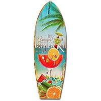 Paradiso tropicale in legno da parete a forma di tavola da surf