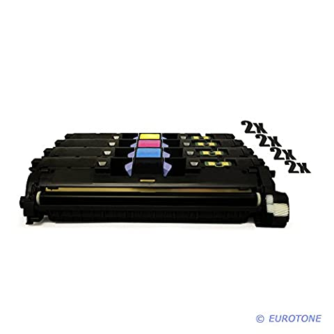 8x Eurotone Remanufactured Toner Cartouche pour HP Color LaserJet 2550 2820 2840 LN AIO L N remplace Q3960A-63A 122A