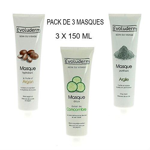 Kit de 3 Masques Hydratant Visage à L'huile d' Argan + Masque Purifiant à l' Argile + Masque Douceur et Anti -Stress au Concombre (3 produits de 150 ml)