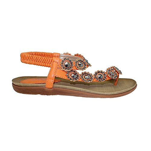 Da donna 'Charlotte' punta-loop sandali Orange