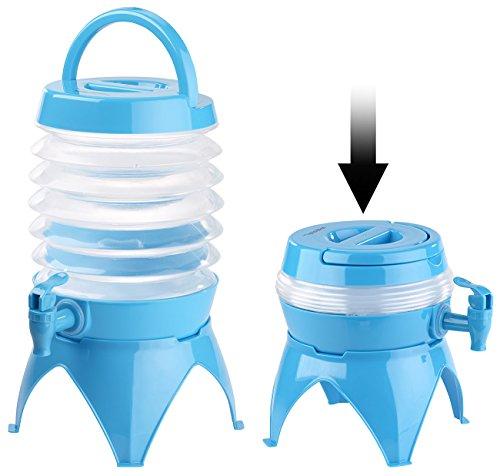 PEARL Wasserspender: Faltbares Fässchen, Auslaufhahn, Ständer, 3,5 Liter, blau/transparent (Party Camping Getränkespender)