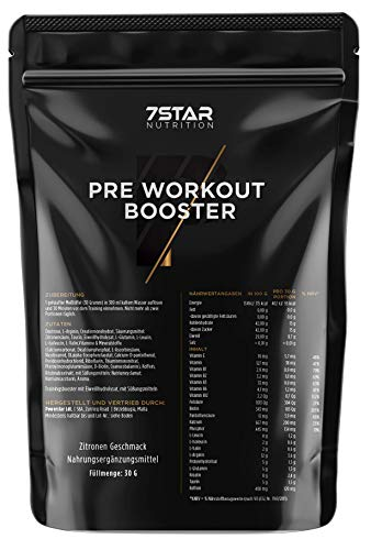 Pre Workout Booster – 7 Star Nutrition – Getränkepulver Zitrone – 30 Gramm – Für Bodybuilding und Kraftsport - Hergestellt in Deutschland - Testpackung