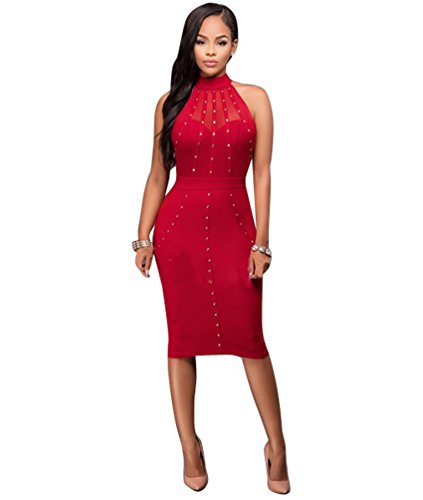 CHENGYANG Femme Sans Manches Dos Nu Party Cocktail Soirée Clubwear Rhinestone Bodycon Crayon Robe Rouge