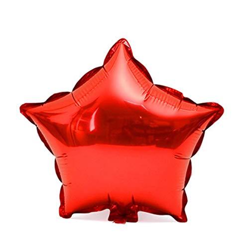 Funnyrunstore 18 Zoll Folie Stern Form Ballon Helium Metallic Geburtstag Sommer Outdoor Party Hochzeit Dekor Luft Mylar Ballon (Farbe: Rot)