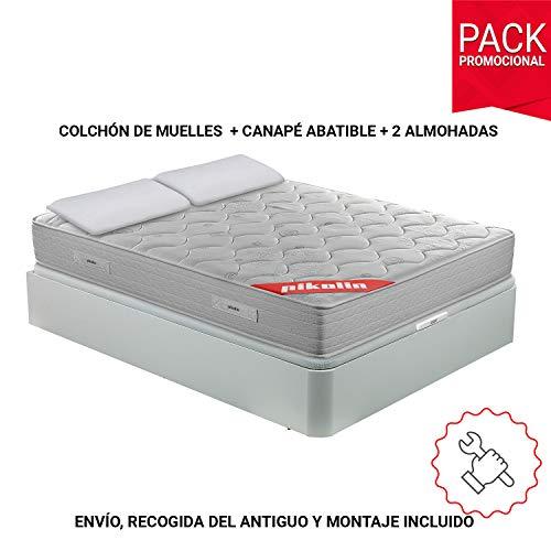 PIKOLIN Pack Colchón viscoelástico muelles 150x190+