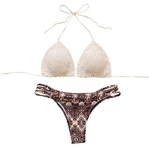 MCYs Bohemien Bikini-set Damen Badeanzug mädchen bikini 2018 Neu Fashion Neckholder high waist Handarbeit Gehäkelt Strand Bademode Neckholder (M) Blume Neckholder
