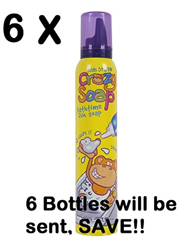 6 X Crazy Fun Foam Soap 225ml - Great fun for bath time! (6 Bottles will be sent)