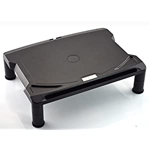 DRYZEM Adjustable Laptop and Computer Monitor Stand and Desk Organiser, 40 cm x 29.5 cm (Black)