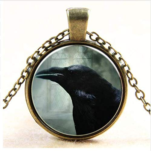 Glas Kuppel Kunst Anhänger Krähe Vogel Halskette Halloween Geschenk ()