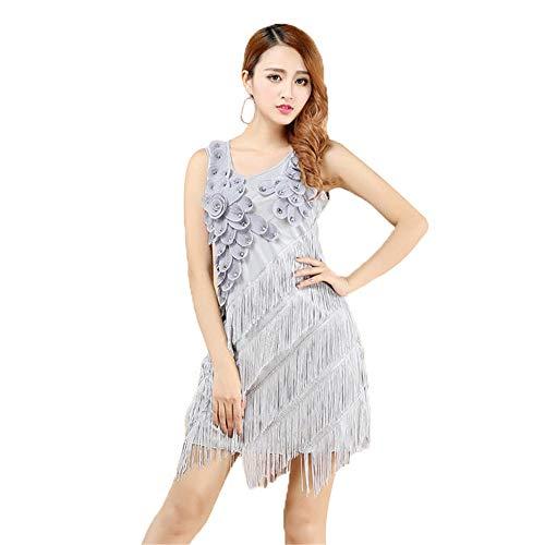 Gypsy Kostüm Boho - Ljleey-CL Damen tanzen Rock Frauen Latin Dancewear Sleeveless Quaste Flapper Dance Kleid Rhythm Salsa Tango Gesellschaftstanz Kostüm Bleistift Bodycon Mini Kleid (Farbe : Grau, Größe : Einheitsgröße)