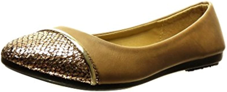 Angkorly Zapatillas Moda Bailarinas Bimaterial Slip-On Mujer Dorado Talón Tacón Plano 0 cm