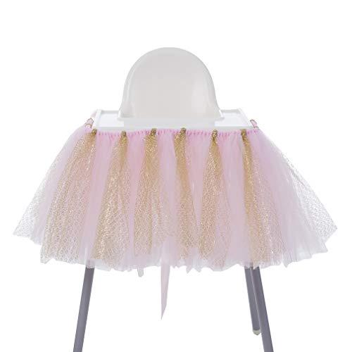 Tüll Tisch Rock Party Baby Dusche Dekoration Hochstuhl Tütü Stuhl Ballettröckchen Deko Blau Silber Rosa Gold Rot Lila Weiß Schwarz ()