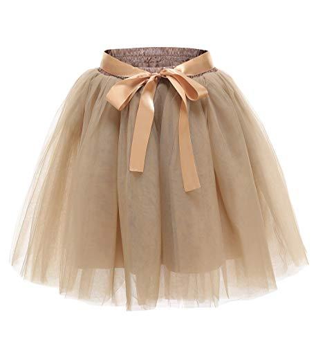 Facent Damen 7 Schichten Knielang Tüllrock Tutu Tüll Kleid Rock Reifrock Abendrock (Löwe Frauen Kostüm)