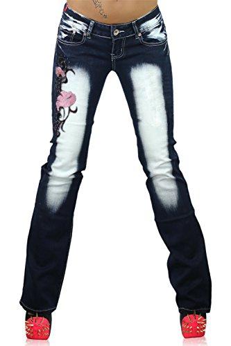 Crazy Age Damen Boot-Cut Jeanshose Navy blue / Pink ( CB 029 )