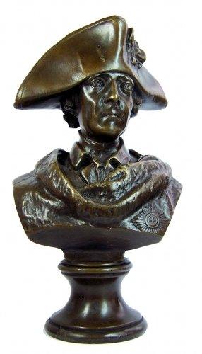 Kunst & Ambiente - Bronzefigur - Friedrich II. / der Große Fritz Figur - Bronzebüste mit Dreispitz - signiert - Gladenbeck - Fritz Büste aus Bronze - Fritz Skulptur