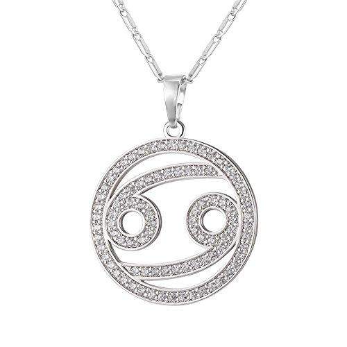 U7 Horoskop & Sternzeichen Halskette Tierkreis Krebs platiniert Zirkonia Sternbilder Astrologie Anhänger mit 56cm Kette, Silber-Ton