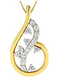 Silvernshine Daily Wear Fancy Necklace In 14K Yellow Gold Fn 1.2 Ct Round Cut Sim. Diamond