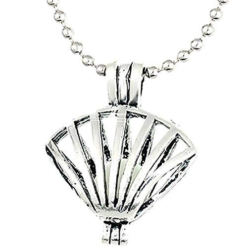 Frauen - Damen Halskette - Schale - Helle Kugel im Dunkeln - Glow In The Dark - Phosphoreszierend - Silberne Farbe ()