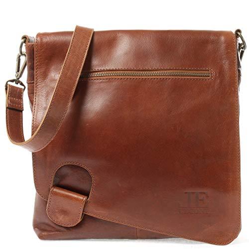 LECONI Umhängetasche Damen-Tasche Crossbag Rinds-Leder Natur Schultertasche Vintage-Look Ledertasche Frauen + Herren Handtasche aus Echt-Leder 29x29x6cm braun LE3073-buf