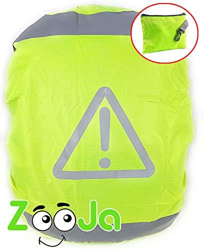 ZooJa® Schulranzen Regenschutz mit Reflektoren und Tasche für Kinder Überzieher für Rucksäcke Schutzhülle als wasserdichter Ranzen Schutz Regenhülle gegen Regen für mehr Sicherheit, neon 35l