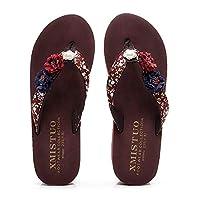 Kvbabby Girls Flip Flops Summer Bohemia Flowers Slippers Toddler Little Kids Non-Slip Thong Sandals Slip on Pool Beach Shoes Brown