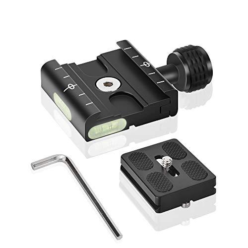 """UTEBIT 50mm Quick Release Plate Metall Clamp Schnellwechselplatte Klemme Wechselplatte Stativ mit 1/4\"""" 3/8\"""" Schraube Adapter Eingebaute Wasserwaage Kompatibel für Arca Swiss Stativ-Kugelkopf"""