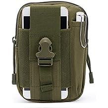 modakeuse Nylon táctico Molle bolsa teléfono celular Clip para el cinturón Holster EDC Utility Outdoor Gear cinturón cintura bolsa con teléfono móvil soporte para iPhone 77Plus 66S Plus Samsung Galaxy Note, Verde ejército