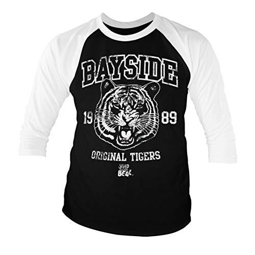 Offizielles Lizenzprodukt Bayside 1989 Original Tigers Baseball Männer Viertel T-Shirt (Schwarz-Weiß), Large -
