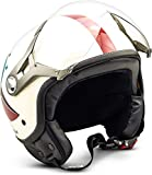 SOXON SP-325 Winner · Vespa-Helm Mofa Bobber Pilot Retro Scooter-Helm Roller-Helm Jet-Helm Motorrad-Helm Vintage Cruiser Chopper Helmet Biker · ECE zertifiziert · mit Visier · inkl. Stofftragetasche · Beige · S (55-56cm)