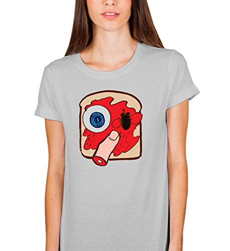 Halloween Creepy Sandwich Eye Finger_007326 Tshirt T Shirt Women's Ladies Present for Her 2XL Grey T-Shirt