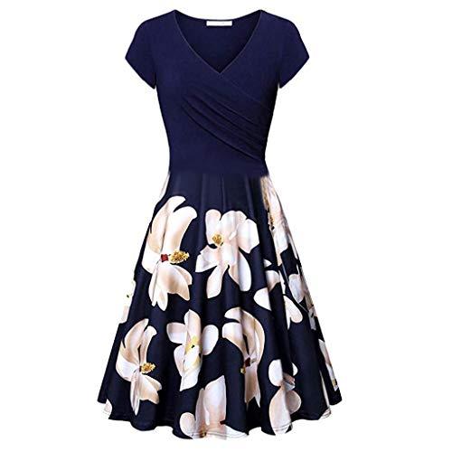 Go First Frauen-beiläufige V-Ansatz Druck-Minikleid-Sommer-Tasche A-Line Kleid-Weinlese-Elegante Abend-Partei Kleidet Strand-Sommerkleid (Color : Dark Blue, Size : Small) Casual Home Stretch Ribbed