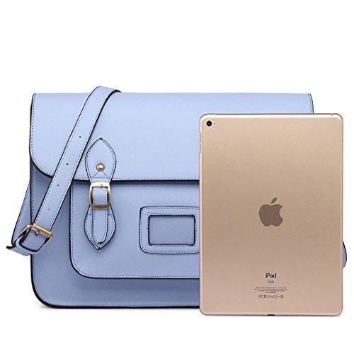 Miss Lulu borsa da donna borsa a tracolla Copertina a pois di marca vintage borsa messenger pelle sintetica scambio di lavoro Borsa da scuola Blu chiaro