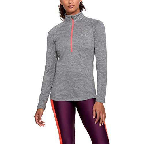 Graphit Langarm-shirt (Under Armour Damen New Tech 1/2 Zip - Twist Oberteil, Graphite, XL)