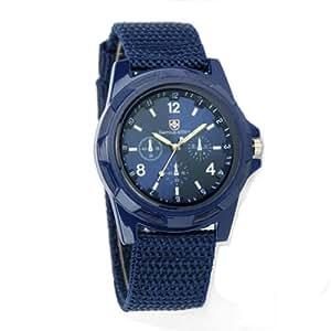 broadfashion montre sport style militaire avec bracelet en tissus pour homme bleu. Black Bedroom Furniture Sets. Home Design Ideas