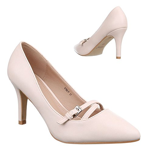 Damen Schuhe, 9786-P, PUMPS HIGH HEELS Beige