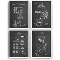 Salle De Bains Affiche De Brevet - Lot De 4 Affiches - Size A4 21 x 29.7 cm - Impressions Bathroom Prints lavabos Art Patent Posters Poster toilette Cadeaux Pour - Cadre Non Inclus