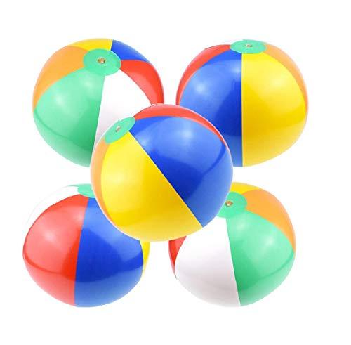 Koojawind 5 Pack Beach Balls Rainbow Aufblasbare Spielzeug 6 Panel Farben FüR Pool Party Strand Spielzeug, Ballon Wasserball Spielzeug Spaß (Rainbow Beach Ball)