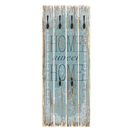 Bilderwelten Wandgarderobe Holz - Sweet Home - Haken schwarz - Hoch, 100cm x 40cm