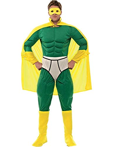 Orion Costumes Lustiger Superheld Jumpsuit Kostüm grün-gelb -