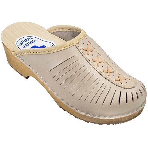 Estro Damen Clogs Leder Schuhe aus Holz CDL01 (39, Beige)