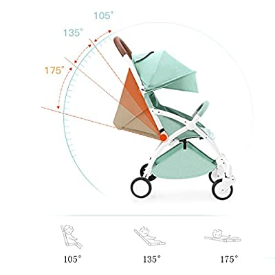 YC electronics Sillas de Paseo Aleación de Aluminio 4 Ruedas Cojín de bebé Absorbente de Golpes Portátil Plegable Recién Nacido Paraguas Cochecito Sillas de Paseo Sillas Ligeras