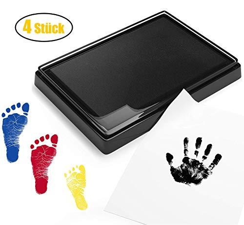 Endureal Baby Stempelkissen | Baby Fuß- oder Hand-Abdruckset Set in Vier Farben | Baby Handabdruck Hand | Fußabdruck-Set | für Babys ungefährlich - leicht abzuwaschen(schwarz + rot + blau + Gelb)