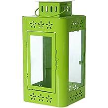 PAME 29642 - Farol de metal, 35 x 17 x 17 cm, color verde