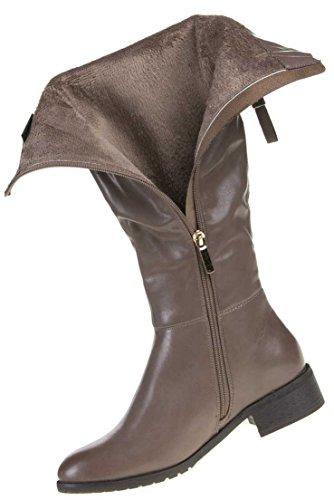 Damen Schuhe Stiefel Gefütterte Reißverschluss Boots Grau